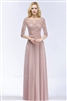 LILLY | A-line Floor Length Half Sleeves Appliques Bridesmaid Dresses with Sash