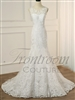 ALEXIA - Sexy Mermaid V-neck Open Back Fashion Lace White/ Ivory Bridal Gowns Sweep Train