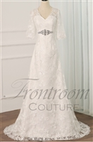 ESTELLA | Elegant Lace A-Line Wedding Dresses Half Sleeves V-neck Crystal Belt