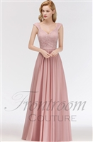 MARIA | A-line Long V-neck Sleeveless Lace Top Chiffon