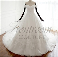 BELLINA | White Tulle Lace Floor-Length V-Neck A-line Wedding dress Chapel Train Lace up Beading