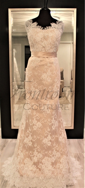 PHOEBE | Ivory Lace Champagne Satin Mermaid/Trumpet Tank V-back Belt Bow Sleeveless