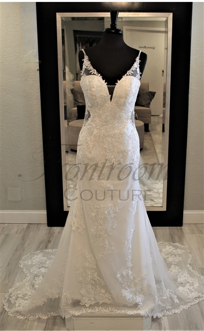 KASSANDRA- Lace Trumpet Beach Gown with Low Back