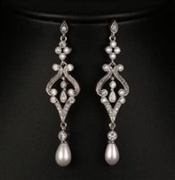 Pearl C Long Silver Earrings