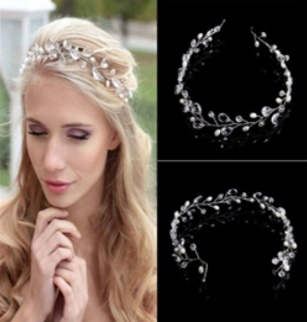 Vintage Faux Crystal Pearl Tiara Drop Headband Size-43*2.5cm / 16.93*0.98in