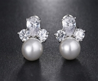 Elegant Shiny AAA Cz Crystal Pearl Flowers Stud Earrings