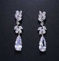 Cubic ZirconSilver Leaf Earrings