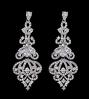 Elegant Luxury Long Cz Crysal Big Drop Dangle Earrings