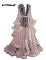 Marabou Feather Vintage Glam Sheer Robe-Long