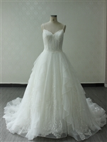 KENNEDY- Ruffled Ballgown with Glitter and Spaghetti Straps and Beading