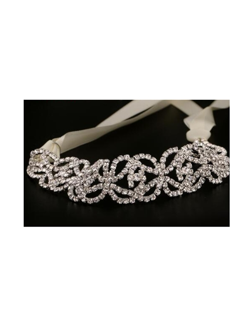Bridal Wedding Headband Belt w/ Rhinestones Circles and Waves