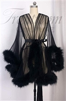 Sexy Sheer Maribou Feather Boudoir Lingere Short Robe, NWT