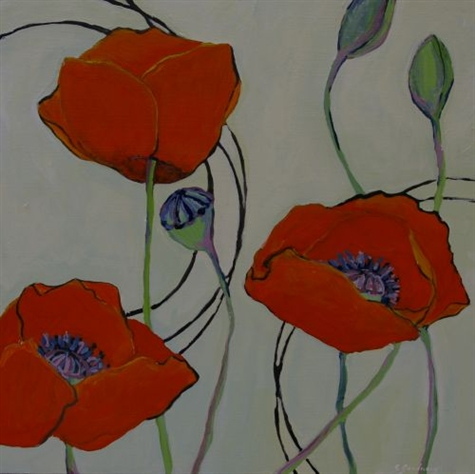 Green Spring with Poppies