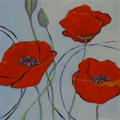 Sky Blue with Poppies