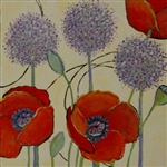 Three Allium and Poppies