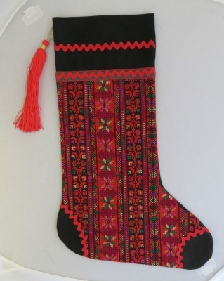 Embroidered Christmas Stockings.Embroidered Christmas Stocking From Gaza