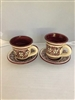 Ceramic Cups with Plates, (Two)