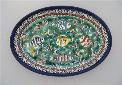 Palestinian Ceramic Serving Bowl 6 X 9""