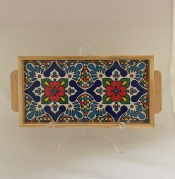 Ceramic and Wood Serving Tray