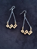 "Olivewood Arabic Calligraphy Earrings ""Strength"""