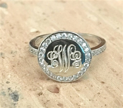 Sterling Silver Cubic Zirconia  Round Monogram Ring