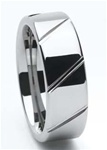 Men's Tungsten Diagonal Groove Wedding Band