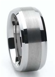 Tungsten Brushed Bevel Style Wedding Band