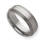 Mens Wedding Band Tungsten Brushed Reversal