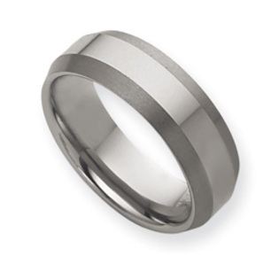Mens Wedding Bands Tungsten.Brushed Bevel Reversal Tungsten Ring 8mm