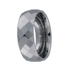 Faceted Tungsten Wedding Band Men's Wedding Ring