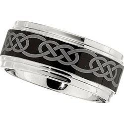 10mm Dura Cobalt Wedding Band with Black Laser Celtic Knot