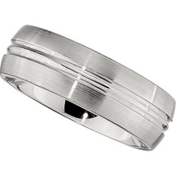 8mm Dura Cobalt Wedding Band Brushed Satin Edges and Polished Middle Groove