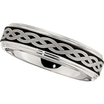 6mm Dura Cobalt Ring with Black Laser Celtic Braid