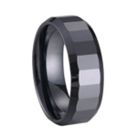 Multi Faceted Black Ceramic Ring