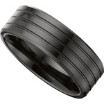 8mm Triple Groove Black Ceramic Ring