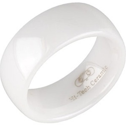 8mm Classic Dome White Ceramic Ring