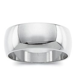 14K White Gold 8mm Band