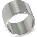 14K White Gold 12mm Flat Band