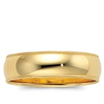14K Yellow Gold 6mm Milgrain Band