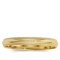 14K Yellow Gold 4mm Milgrain Band