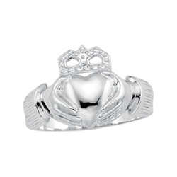 14K White or Yellow Gold Men's Claddagh Ring