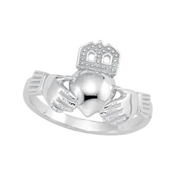 14K White or Yellow Gold Women's Claddagh Ring