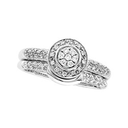14K White Gold Pave Engagement Set featuring 57 diamonds