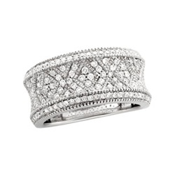 14K White Gold 3/4 ct. Diamond Pave Band with 118 Diamonds