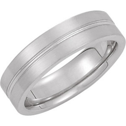 14K White 6mm Comfort-Fit Designer Band