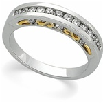 Platinum 1/2 Carat Anniversary Band with 18K Yellow Gold Accent