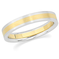 4mm 18K Yellow Gold and Platinum Band Flat Top