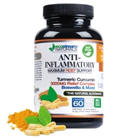 Anti-Inflammatory Maximum Relief Support | Relieves Inflammation-Induced Pain | Day or Night Use | Naturally Derived Ingredients | Safe & Effective | Gluten-Free | 60 Vegetarian Capsules