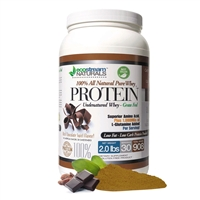 100% PURE WHEY PROTEIN with Undenatured Whey<br>Rich Chocolate Swirl Flavor