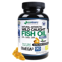 Natural Antarctic Wild Caught Omega 3 Fish Oil DPA Supplement - 2,900 Milligrams Triple Strength Ultra Pure Concentrated, EPA-DPA-DHA, Soft-Gels